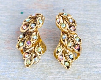Vintage Clip on Earrings Earrings with Colorful Rhinestones