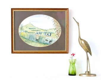Cows In the Fields - Vintage Picture Frame - Watercolor