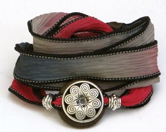 Silk Ribbon, Whirly Wrap Bracelet, Wrap Bracelet, Smoke Brick, Gray Red, Red and Black, antique silver Multi petal button, secure magnet