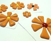 Glass Flowers For Mosaics, Jewelry, Magnets or other Embellishments 6 Flowers  (P217)
