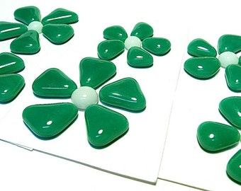 Glass Flowers For Mosaics, Jewelry, Magnets or other Embellishments 6 Flowers  (P211)