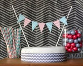 Gender Reveal Cake Topper Garland Dots and Stripes Pink Blue Bunting Baby Shower Banner