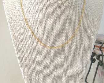 Simple Satellite Chain Necklace, Layer Necklace, Short Necklace, Gold Necklace