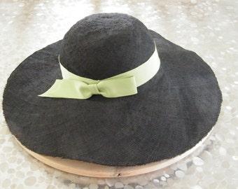 black summer hat / ladies's sun protection hat / wide brim straw hat / large summer hat, beach hat Israel