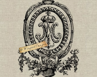 Queen Marie Antoinette Initials. Instant Download Digital Image No.255 Iron-On Transfer to Fabric (burlap, linen) Paper Prints (cards, tags)