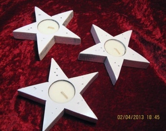 TEA LIGHTS - set of 3 STARS - Patriotic Americana - Candle - Candle Holder - Tea Candle - Light Fixture
