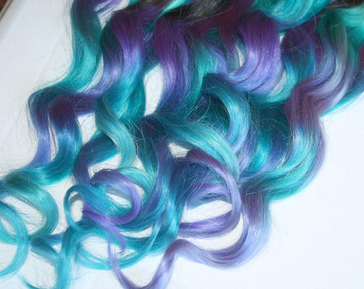 Blue and purple clip in hair extensions ombre hair tie dye zoom pmusecretfo Images