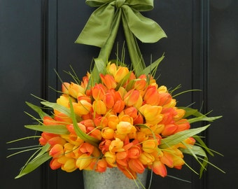Spring and Summer Tulip Wreath  - Tulip Pail - Tulip Basket  - Orange Wreath