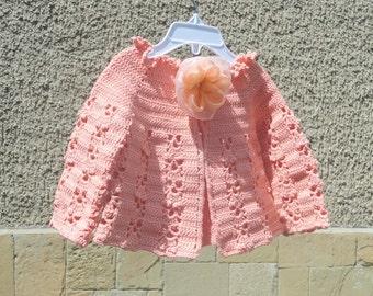 Crochet Baby Vest in Coral, Summer Baby  Bolero, Coral Baby Jacket,  Baby Summer Clothes, Baby Fashion