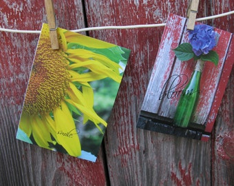 Sunflower Greeting Card  Rustic Garden Series Wedding FAvors or Thank You Notes