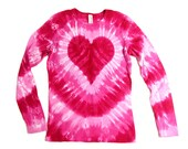 Fitted Ladies Tie Dye Heart Shirt, Long Sleeve, Valentine's Day Pink, Baby Rib Knit, Earth Friendly Dyeing