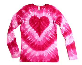 Ladies Tie Dye Heart Shirt, Long Sleeve, Valentine's Day Pink, Earth Friendly Dyeing