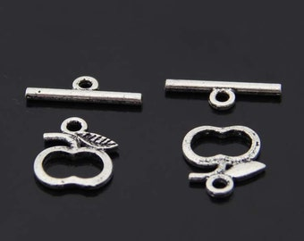 5 Sets 10pcs-Apple OT toggle-Antique silver/Tibetain silver bracelet toggle jewelry findings-A5772