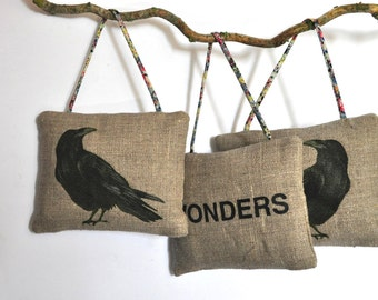 Rustic decor ornament  Special gift for Crow raven lovers.