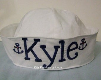 Personalized White Sailor Hat with Anchors