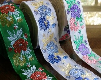"""1.375"""" Vintage French Woven ribbon trim with embroidered florals great for Moravian Slavic Czech Folkloric costumes #393-01, 393-04, 393-08"""