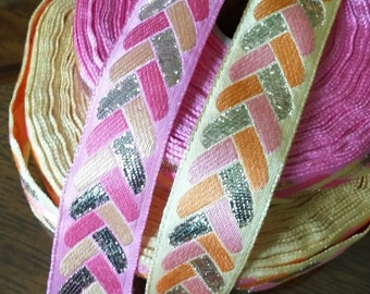 """1"""" Vintage France: Pink woven ribbon trim Jacquard  with embroidered braid pattern #450-09 and  #450-10"""