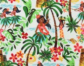 LAMINATED cotton fabric - Leis Luaus Aloha natural Hawaii yardage (aka oilcloth coated vinyl fabric ) - Alexander Henry