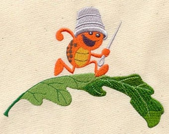 Crafty Bug Embroidered Flour Sack Hand/Dish Towel