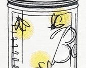 Firefly Ball Canning Jar Embroidered Flour Sack Hand/Dish Towel