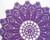 round crochet doily ,lace doily , violet , 15 inches