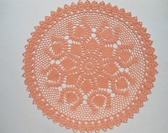 """Pink crochet doily , large doily , lace , round doily , 18 """""""