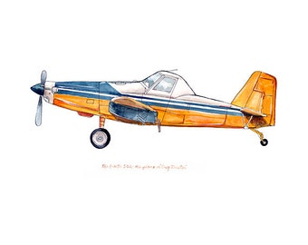 "Air Tractor 502 ""Crop Duster"" classic airplane watercolor print, 8x10"""
