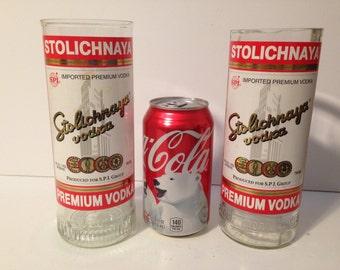 Stolichnaya Vodka Recycled Bottle Glasses - Set of 2