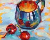 "Original Fine Art Oil Painting Two Cherries 6""x 6""by Elizabeth Elkin."