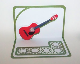 CHRISTMAS ACOUSTIC GUITaR 3D Pop Up Card ORIGINAL Design Origamic Architecture Home Decor  Handmade in Red White & Metallic Green OOaK