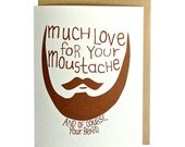 beard greeting card, moustache card, hand drawn greeting card, funny card
