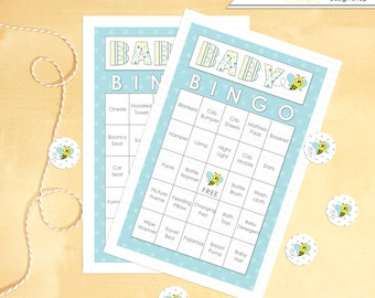 Baby Shower Bingo 30 Cards Bee Blue and Yellow - Instant Download