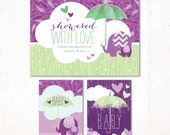 Showered with Love Baby Shower - Instant Download PRINTABLE Party Signs (Purple & Green)