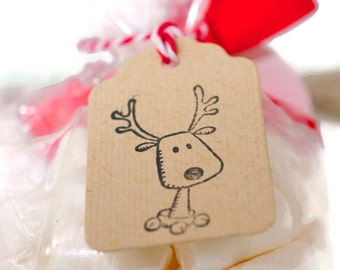 READY TO SHIP | 25 Rudolph the reindeer kraft mini tags. Cute Christmas reindeer gift tags. Gift Topper embellishment