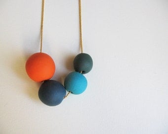 Polymer clay jewelry Navy blue tangerine necklace - Beads necklace- minimalist jewelry