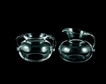 Vintage Steuben Glass Hand Blown Cream and Sugar Set