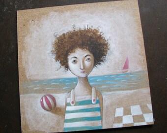 Seashore painting- Original painting- Original drawing- Mixed media