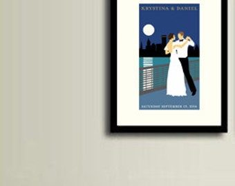 Wedding poster, personalized, Retro couple dancing, city skyline, 12 x 18