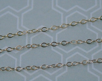14K Gold Filled Chain, 10 feet, 1.4mm, Flat Cable Dainty Delicate Chain, Petite Chain