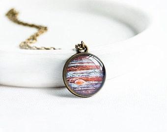 Jupiter necklace, space jewelry, planet pendant, galaxy jewelry
