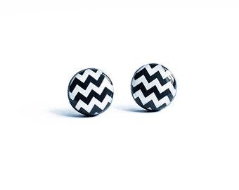 Chevron earrings, black white post earrings, zigzag stud earrings