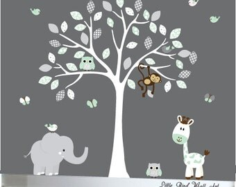 White tree decal childrens wall decal nursery tree decal baby decal wall jungle nursery set