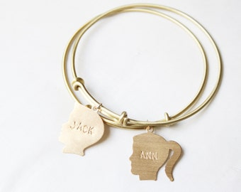 Personalized Bracelet, Silhouette Charm Bracelet, Name Bracelet, Grandmother Bracelet, Mom Bracelet