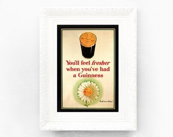 8x11 Guinness Fresh Print Original Advertisement Book Plate Ireland Brewerania Advert Daisy Pint Gilroy Illustration