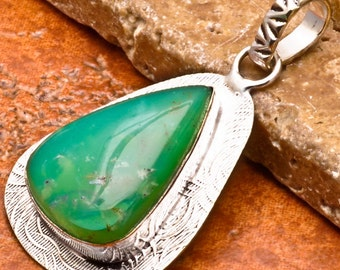 Natural Chrysoprase silver plated pendant   (#J84)