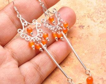 Natural Carnelian 925 sterling silver earrings (#J372)
