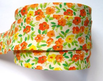Floral bias binding- white, orange yellow flowers