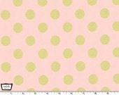 Glitz - Quarter Dot Pearlized blush pink - Metallic Gold Print Fabric from Michael Miller