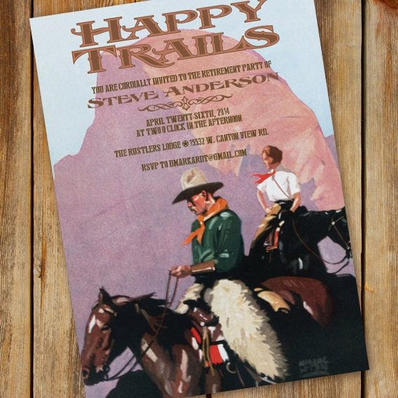 retirement party invitations, retirement party invitation wording, retirement party ideas, Happy Trails retirement, cowboy retirement, IN339