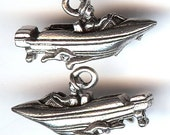 SPEED BOAT Charm. Pewter. 3D Motor Boat. Water Ski. Driver and Waves. Made in the USA.